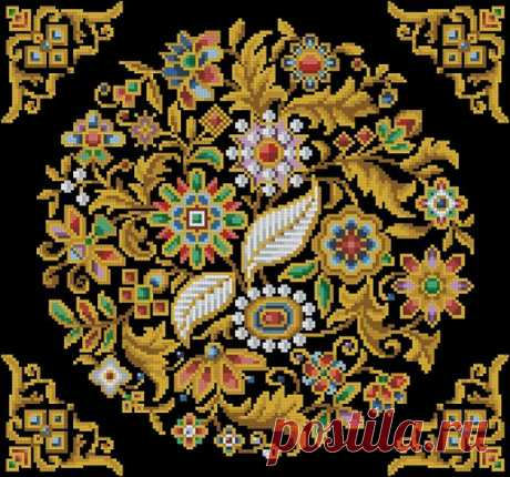 Cross Stitch Antique Tapestry Floral Round Décor от MagicOfNeedle
