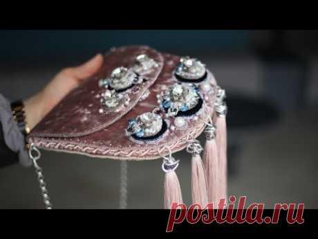 Сумочка с вышивкой для конкурса Сваровски. Бархатная сумочка.