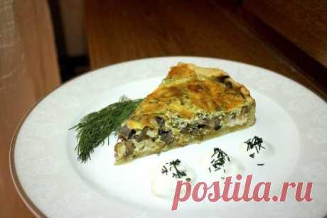 Киш Лорен с курицей, шампиньонами и зеленью, рецепт с фото