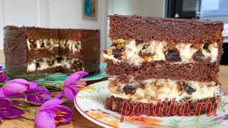 Шоколадный торт с черносливом и орехами: гениально простой в приготовлении и вкусный десерт (ВИДЕО) - Odnaminyta - медиаплатформа МирТесен