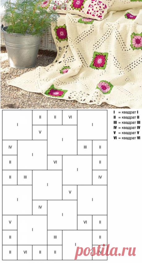 Связанный из мотивов плед привлекает вкраплениями ярких разноцветных квадратов с цветочным рисунком.