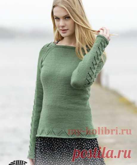 Свитер спицами с рукавом реглан и простым ажуром «Green Forest» из DROPS - Колибри Очень интересная модель свитера, выполненного спицами, понравится всем женщинам без исключения. Свит
