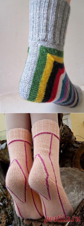 Два затейливых способа вязания носков спицами. | NataliyaK | Яндекс Дзен