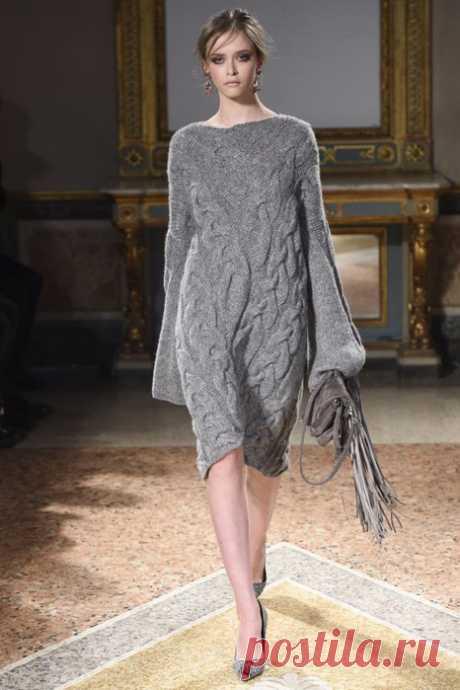 Теплые вязаные платья без описания