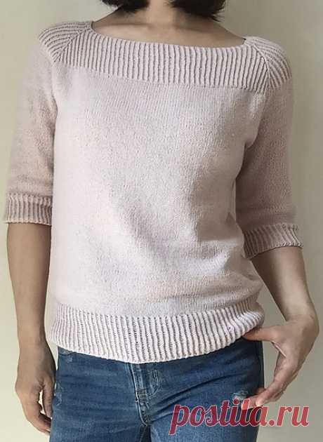 Пуловер регланом одной деталью спицами сверху