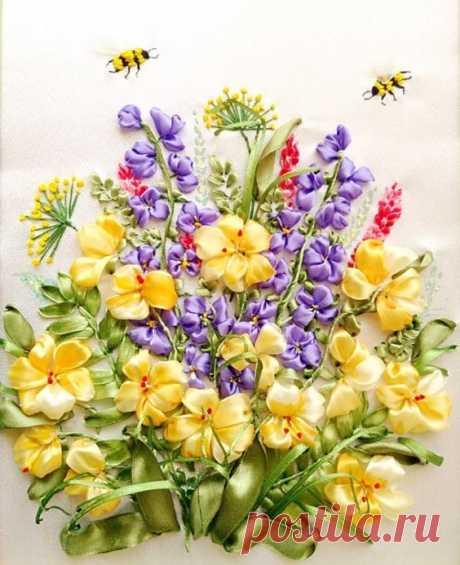 Восхитительная цветочная вышивка лентами: красивые работы для вашего вдохновения