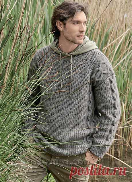 Мужской пуловер с узором в виде цепочек — Shpulya.com - схемы с описанием для вязания спицами и крючком