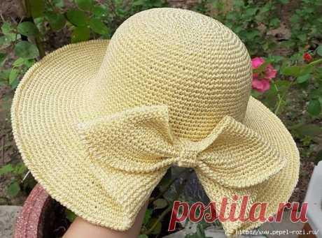 Шикарная шляпка с цельно вязанным бантом крючком — HandMade