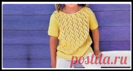 Летняя ажурная кофточка солнечного цвета - вяжем красивую модель для девочки спицами