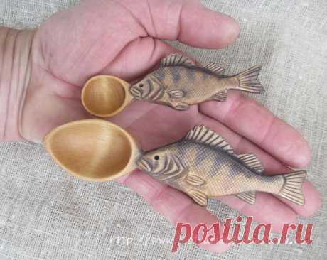 Маленькие деревянные ложки с рукоятками в виде окуня и щуки - Домашняя мастерская