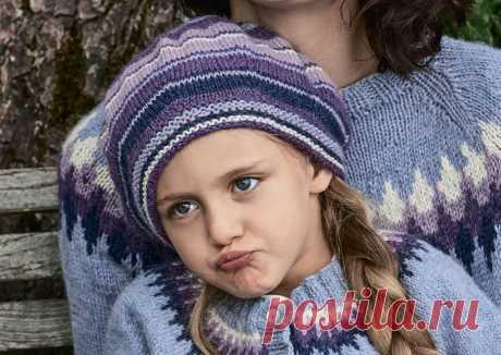 Цветной берет для девочки — схема вязания спицами с описанием на BurdaStyle.ru