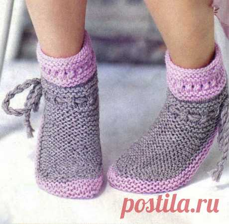 Warm socks a front smooth surface - the Portal of needlework and fashion