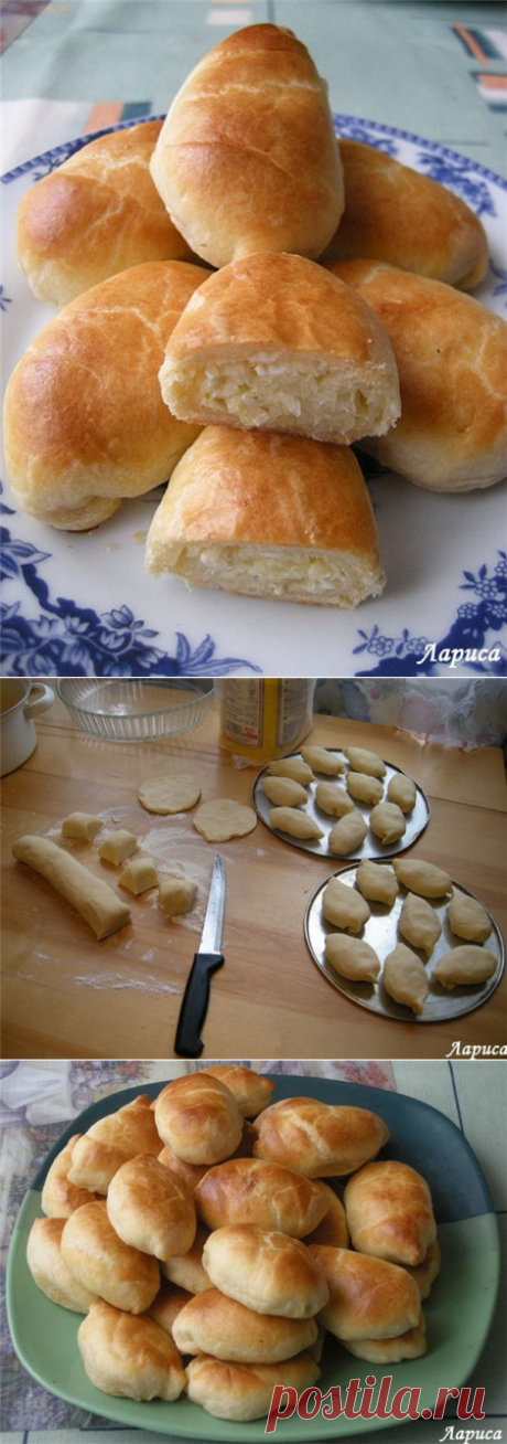 Пирожки с капустой. Тесто рассыпчатое на сметане.
