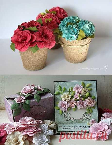 Розы и гортензия из акварельной бумаги. Работы и мастер-классы от Joanna.
