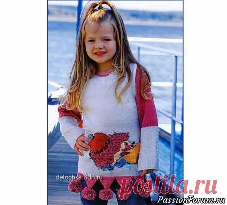 Джемпер с помпонами и рисунком «Ежик» | Вязание спицами для детей Вязаный спицами джемпер для девочек. Описание.Возраст:5-6 лет.Вам потребуется: по 250 г пряжи бежевого и краснокоричневого цветов (100% акрил; 256 м/100 г); спицы № 2.5, крючок № 2,5.Плотность вязания:28 п. х 37 р. = 10x10 см. Узор:по схеме. Резинка 3x1:попеременно 3 лиц. п., 1 изн....