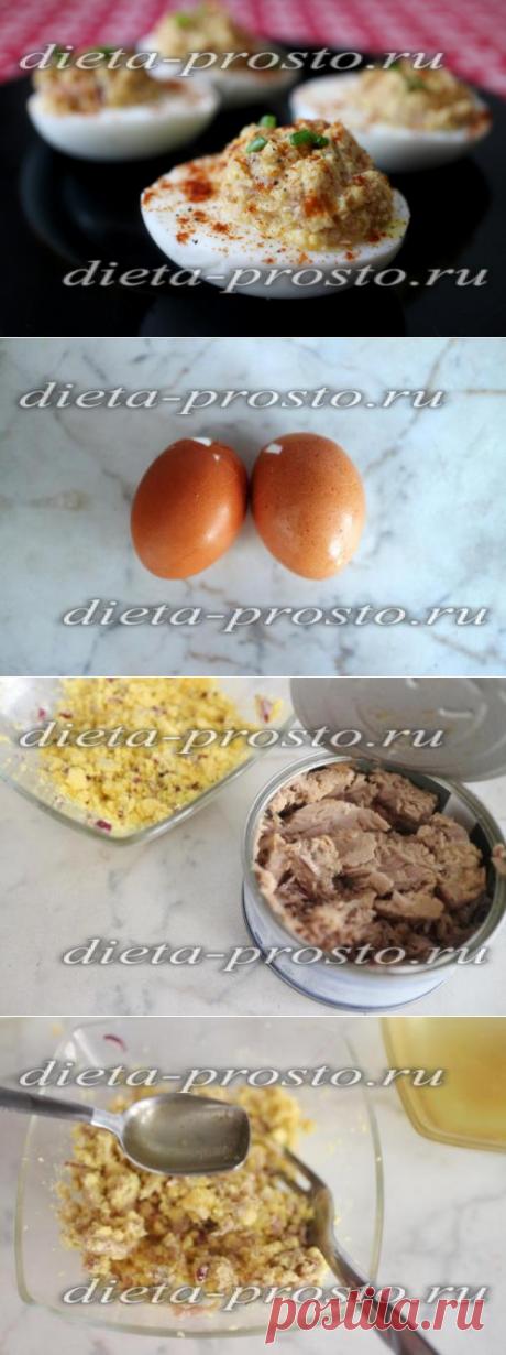 Los huevos rellenado por el atún, la receta de la foto