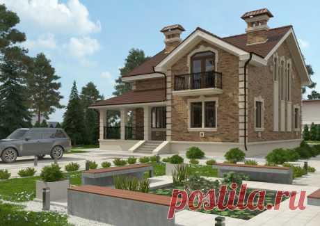 Проект дома «Биариц» «Биариц» - это великолепный образец классического домостроения. Этот одноэтажный дом с мансардой поражает своей эстетичностью и продуманностью. Отделка натуральным камнем, необычные наличники окон, кованые перила балконов и крыльца, фронтоны и узкие окна на боковых фасадах – все это в совокупности создает неповторимый и привлекательный внешний облик дома. Внутреннее пространство имеет четкое зонирование. Первый этаж является общей зоной с гостиной, кух...