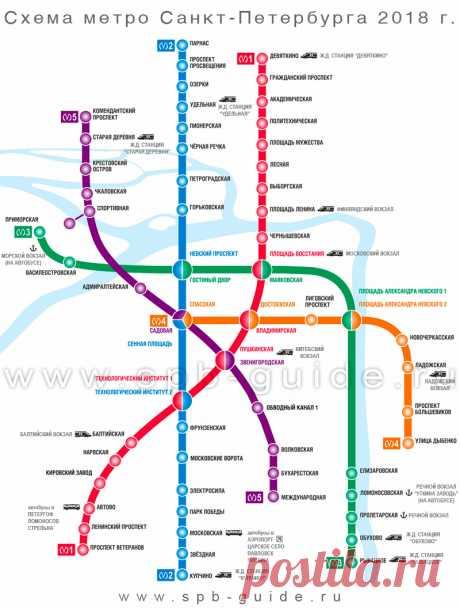 Карта (схема) метро Санкт-Петербурга 2018 г.
