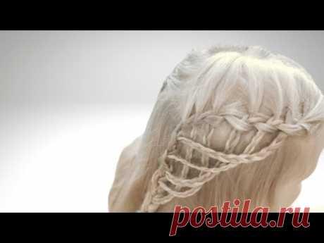 Прическа Ажурный водопад. Прически на длинные волосы. - YouTube