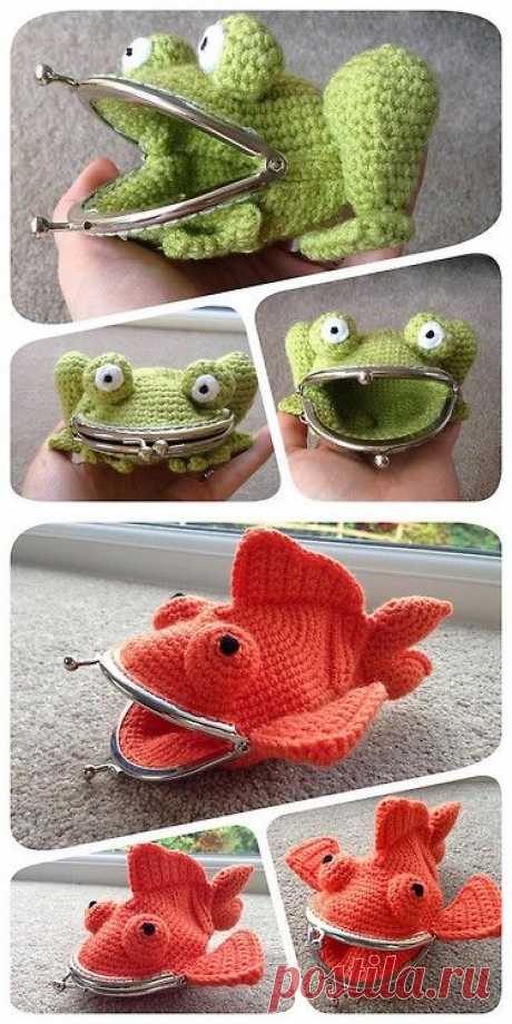 DIY Crochet Frog and Goldfish Large Coin Purses' Pattern from Laura Sutcliffe on Ravelry. | Crochet