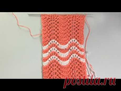 Шетландский узор Old Shale / 2 варианта ажурного ряда / Вязание спицами - YouTube