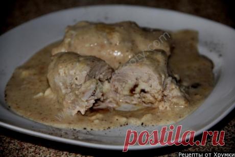 Куриные рулеты в молочно-грибном соусе