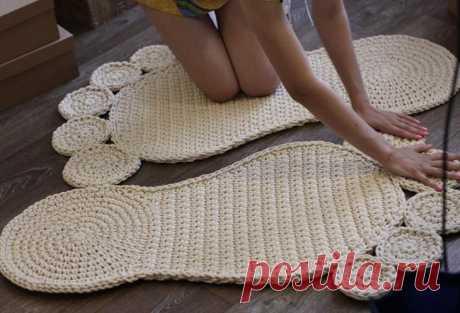Вязание ковриков — оригинальные и красивые идеи