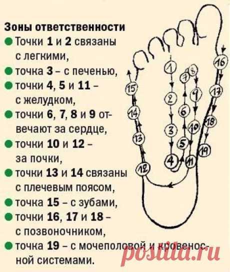 Стимуляция организма воздействием на активные точки стопы