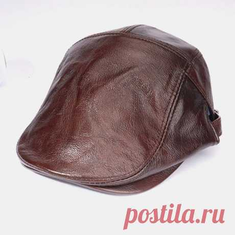 Men Genuien Leather Solid Color Casual Thin Forward Hat Beret Hat - US$35.99