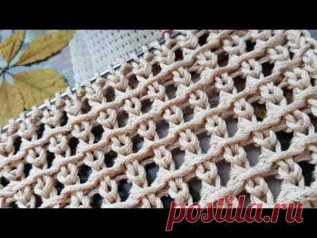 Вяжем самую эффектную решётку спицами 🔥 knitting pattern.