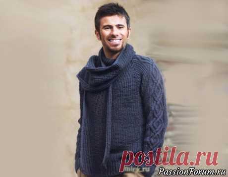 Мужской пуловер и шарф .
