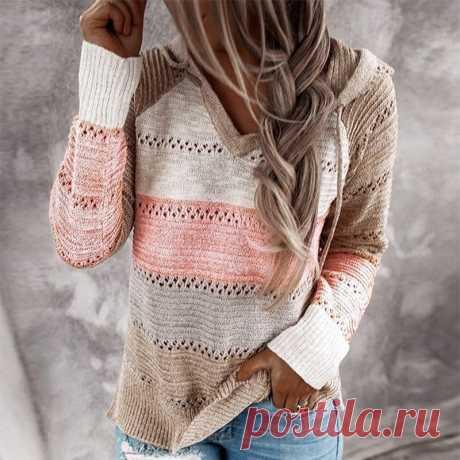 622.39руб. 50% СКИДКА|Осенний женский лоскутный свитер с капюшоном с длинным рукавом и v образным вырезом, вязаный свитер, повседневный Полосатый пуловер, джемперы 2020, новые женские толстовки|Водолазки|   | АлиЭкспресс Покупай умнее, живи веселее! Aliexpress.com