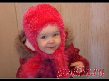 Как связать зимнюю шапку для ребенка 2 -  3 лет ( травкой, спицами!!! )