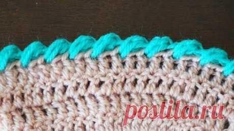 "Кайма ""Рачий шаг"" из пышных столбиков/Puff stitch reverse crochet"