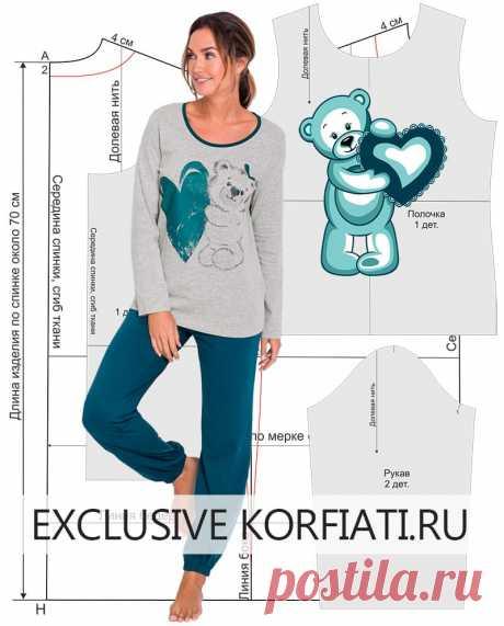 Выкройка трикотажной пижамы от Анастасии Корфиати Пора сшить себе любимой уютную теплую пижаму! Выкройка трикотажной пижамы в натуральную величину можно скачать бесплатно! Выкройка пижамы и инструкции