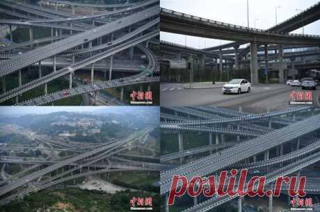"""Транспортную развязку, которая вполне может претендовать на звание одной из самых сложных в мире, открыли в китайском городе Чунцин, провинции Сычуан. В общей сложности дорожный """"узел"""" включает в себя 5 уровней и 20 эстакад, которые расходятся в восьми направлениях / Взлом логики"""