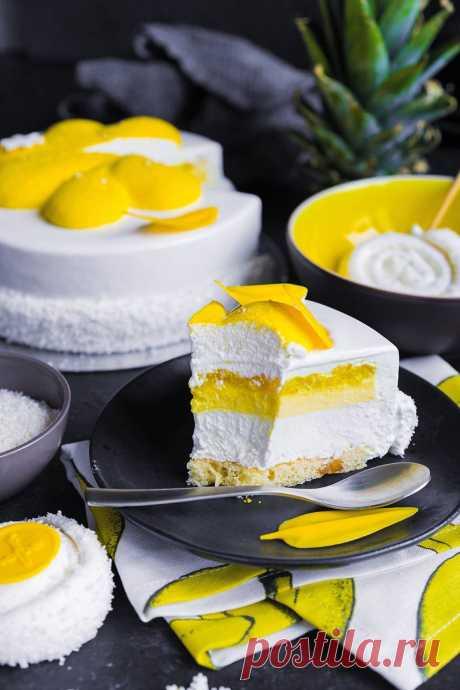 Современные десерты: муссовый торт с зеркальной глазурью «Пина Колада» (Pina Colada)   Andy Chef (Энди Шеф) — блог о еде и путешествиях, пошаговые рецепты, интернет-магазин для кондитеров  