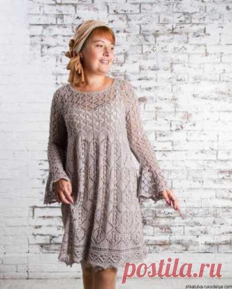 Платье спицами по шетландским мотивам. Автор данной модели Елена Родина.
