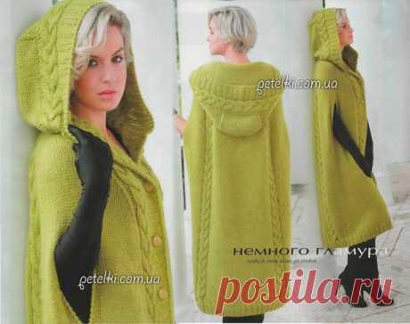 Экстравагантное пальто-пончо спицами. Описание, схемы, выкройка