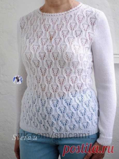 """Пуловер """"Белые тюльпаны"""""""