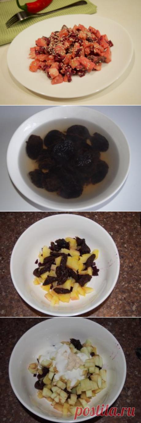 Картофельный салат со свеклой, хреном и черносливом Из-за наличия в салате картошки, рецепт к диетическим вряд ли отнесешь, но это, однозначно, полезнее чем салаты из смеси той же картошки и мяса или рыбы.