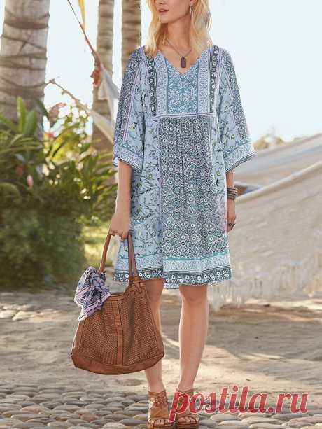 Богемный цветочный принт с V-образным вырезом Midi Платье Ваш друг поделился с вами модным сайтом и дает вам скидку до 20%! требуй это сейчас.