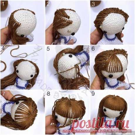 Как пришить волосы вязанной кукле / Как сделать кукле волосы, парик для куклы своими руками / Бэйбики. Куклы фото. Одежда для кукол