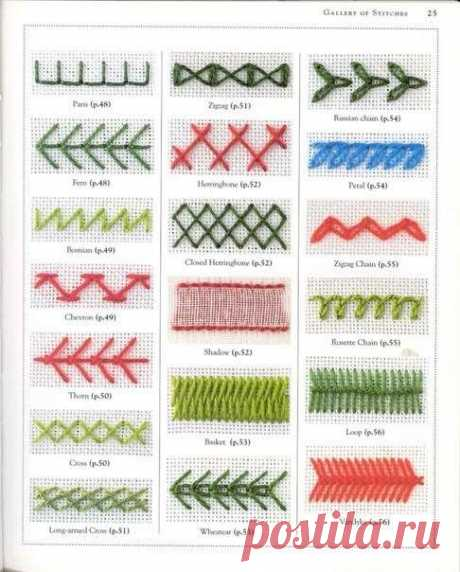 Коллекция стежков для вышивки | Люблю Себя