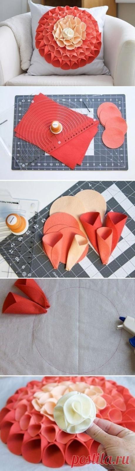 Очень красивый и очень простой декор подушки — Сделай сам, идеи для творчества - DIY Ideas