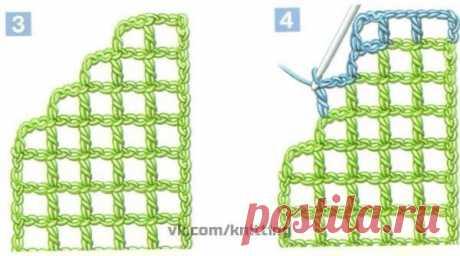 ВЯЖЕМ КРЮЧКОМ УГЛЫ В ТЕХНИКЕ ФИЛЕЙНОЕ ВЯЗАНИЕ Углы в филейном вязании подходят для отделки скатертей, простыней, наволочек, салфеток. Отделочное кружево может выполняться по кругу. При вязании по одной из сторон изделия угол нужно предусмотреть с первого ряда вязания. Вывязывание угла заполненными и пустыми клетками по кругу 1. Угол, выполненный пустыми клетками: наберите цепочку из воздушных петель необходимой длины и отметьте точки, соответствующие углам. Вяжите филейной...