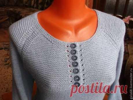 Обработка горловины при вязании платочной вязкой