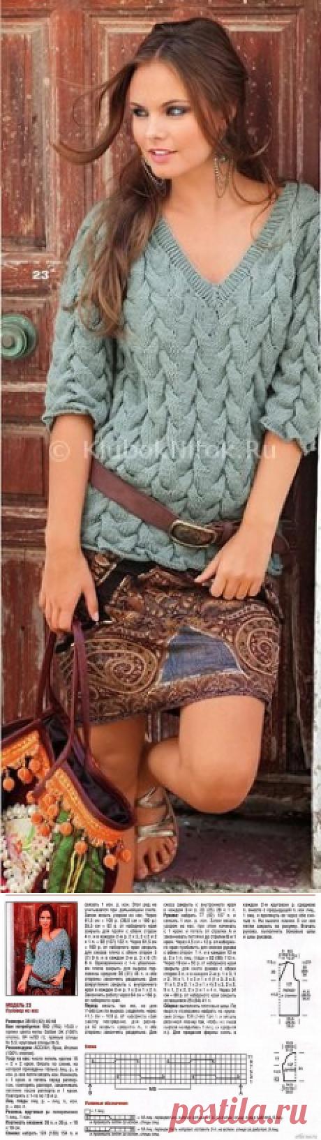 Пуловер из кос | Вязание для женщин | Вязание спицами и крючком. Схемы вязания.