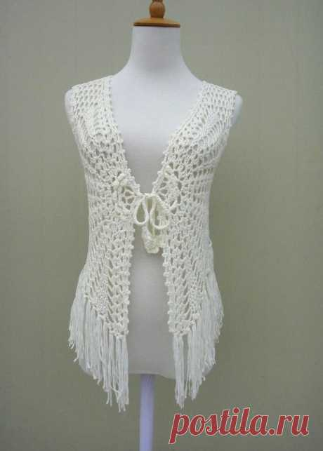 Fringe Crochet FLoral Sleeveless Cardigan Tie Front