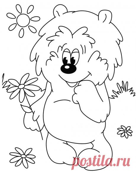 Медвежонок и цветочек